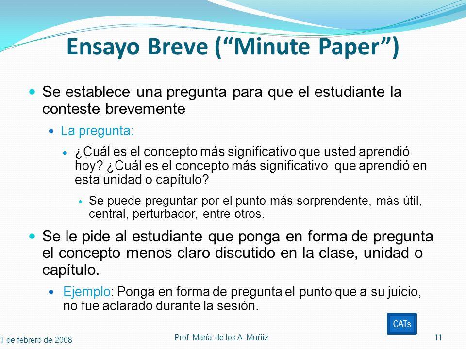 Ensayo Breve (Minute Paper) Se establece una pregunta para que el estudiante la conteste brevemente La pregunta: ¿Cuál es el concepto más significativ