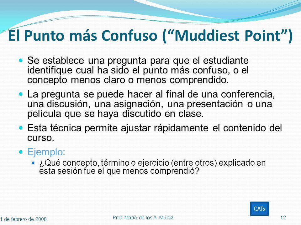 El Punto más Confuso (Muddiest Point) Se establece una pregunta para que el estudiante identifique cual ha sido el punto más confuso, o el concepto me