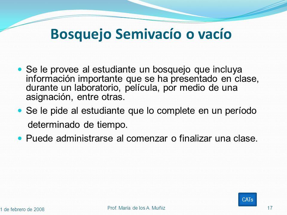 Bosquejo Semivacío o vacío Se le provee al estudiante un bosquejo que incluya información importante que se ha presentado en clase, durante un laborat