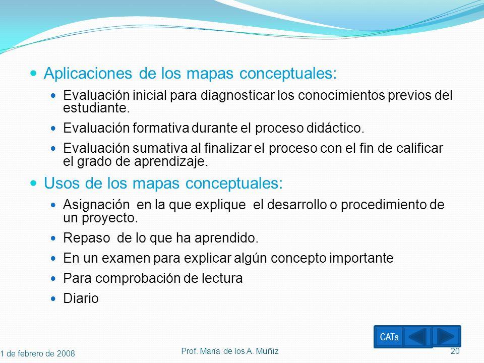 Aplicaciones de los mapas conceptuales: Evaluación inicial para diagnosticar los conocimientos previos del estudiante. Evaluación formativa durante el