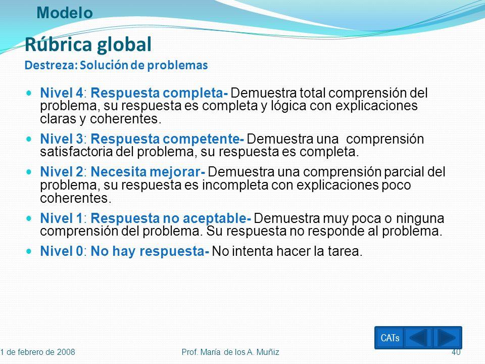 Rúbrica global Destreza: Solución de problemas Nivel 4: Respuesta completa- Demuestra total comprensión del problema, su respuesta es completa y lógic