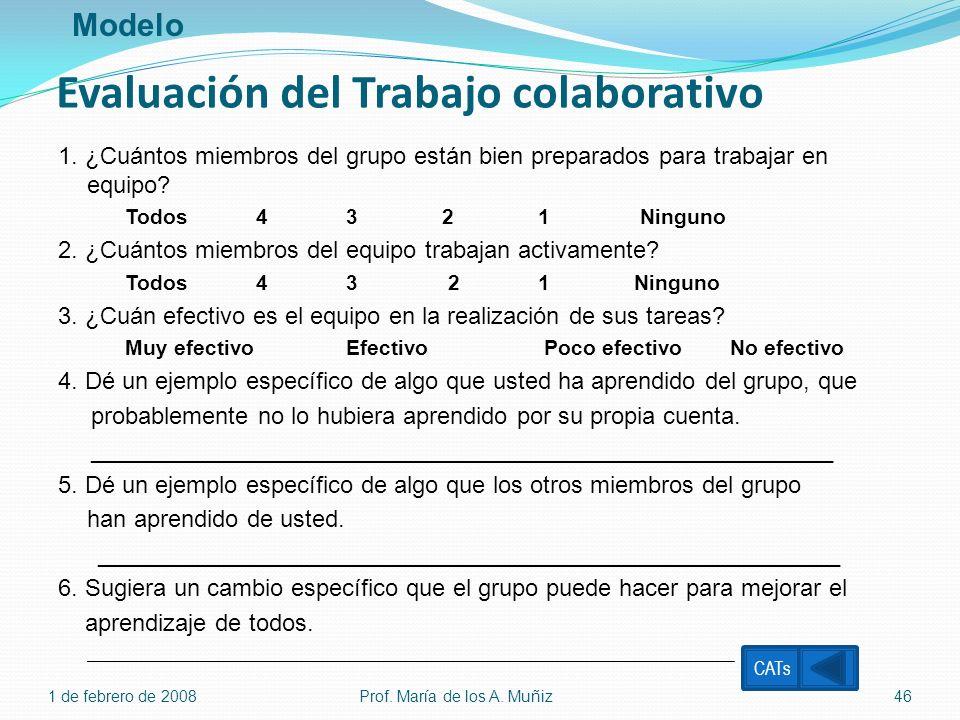 Evaluación del Trabajo colaborativo 1. ¿Cuántos miembros del grupo están bien preparados para trabajar en equipo? Todos 4 3 2 1 Ninguno 2. ¿Cuántos mi