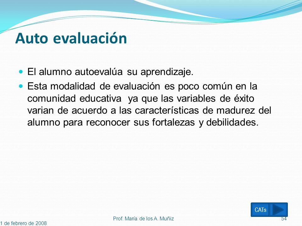Auto evaluación El alumno autoevalúa su aprendizaje. Esta modalidad de evaluación es poco común en la comunidad educativa ya que las variables de éxit