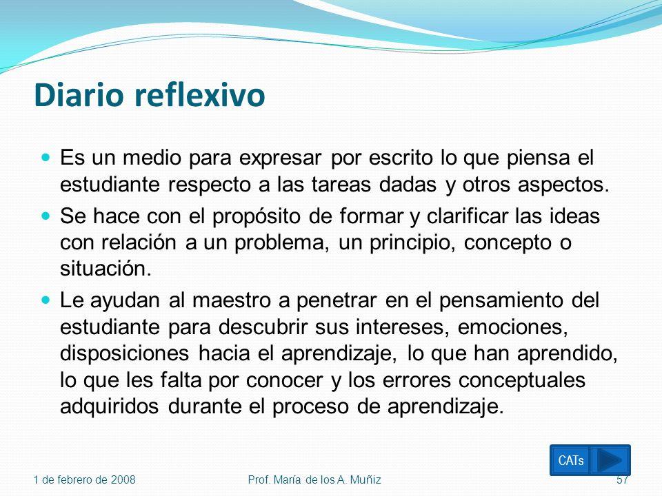 Diario reflexivo Es un medio para expresar por escrito lo que piensa el estudiante respecto a las tareas dadas y otros aspectos. Se hace con el propós