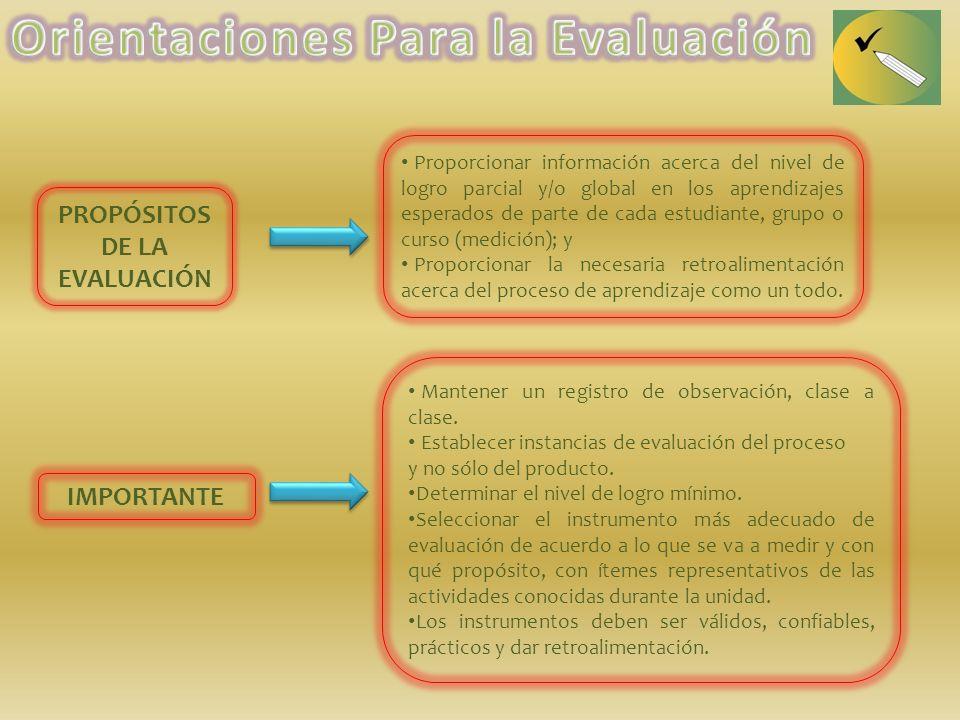 Proporcionar información acerca del nivel de logro parcial y/o global en los aprendizajes esperados de parte de cada estudiante, grupo o curso (medici