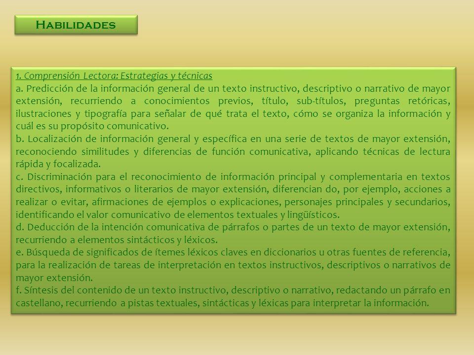 Habilidades 1. Comprensión Lectora: Estrategias y técnicas a. Predicción de la información general de un texto instructivo, descriptivo o narrativo de