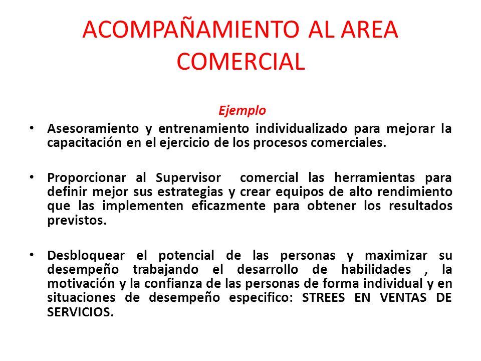 ACOMPAÑAMIENTO AL AREA COMERCIAL Ejemplo Asesoramiento y entrenamiento individualizado para mejorar la capacitación en el ejercicio de los procesos comerciales.