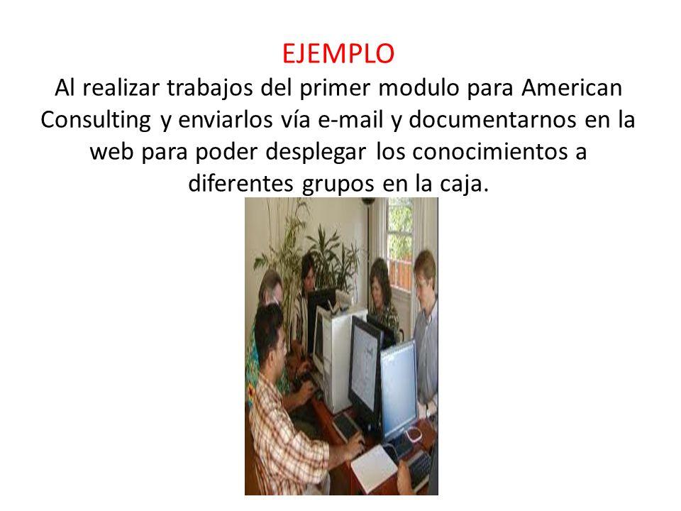 EJEMPLO Al realizar trabajos del primer modulo para American Consulting y enviarlos vía e-mail y documentarnos en la web para poder desplegar los conocimientos a diferentes grupos en la caja.