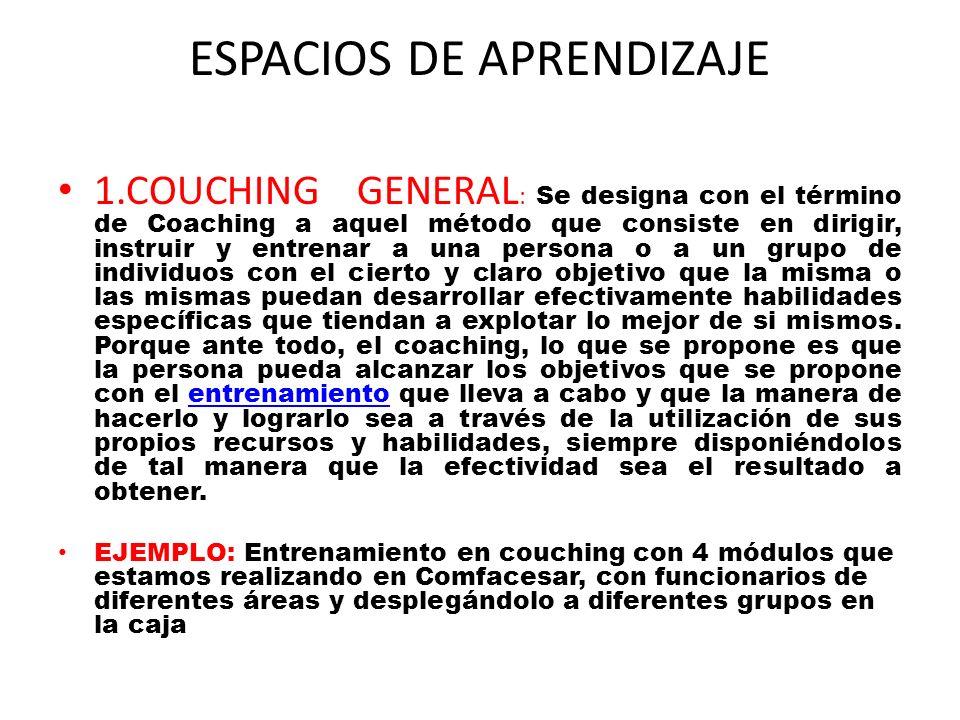 ESPACIOS DE APRENDIZAJE 1.COUCHING GENERAL : Se designa con el término de Coaching a aquel método que consiste en dirigir, instruir y entrenar a una p