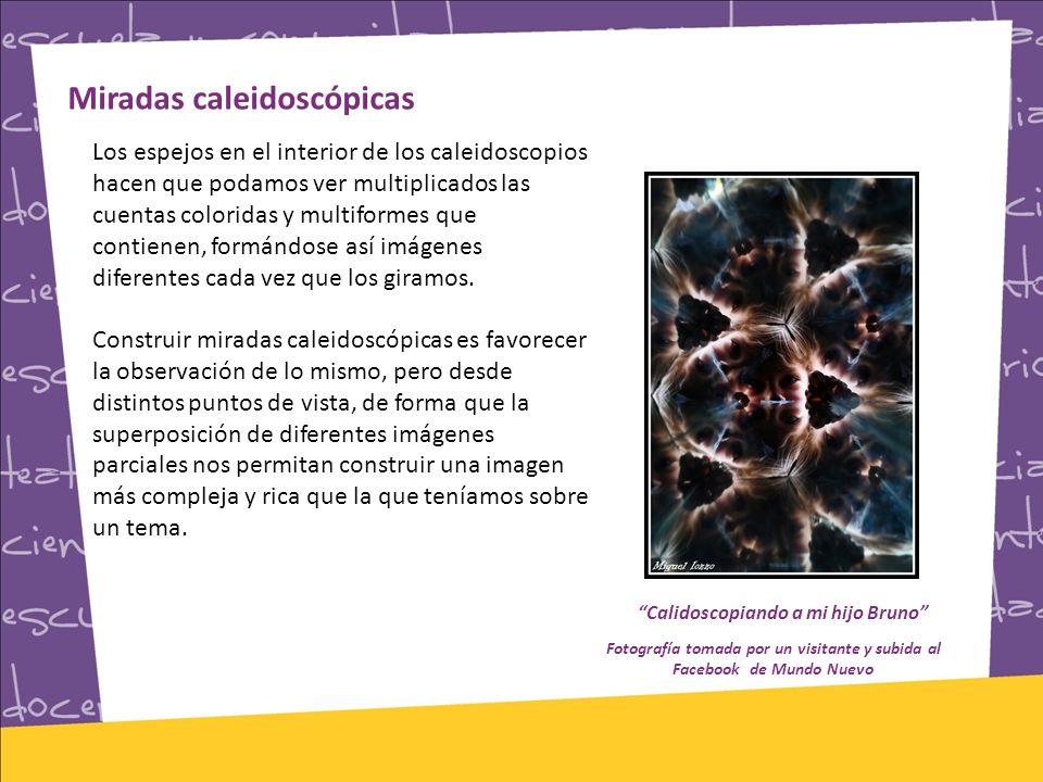 Miradas caleidoscópicas Los espejos en el interior de los caleidoscopios hacen que podamos ver multiplicados las cuentas coloridas y multiformes que contienen, formándose así imágenes diferentes cada vez que los giramos.