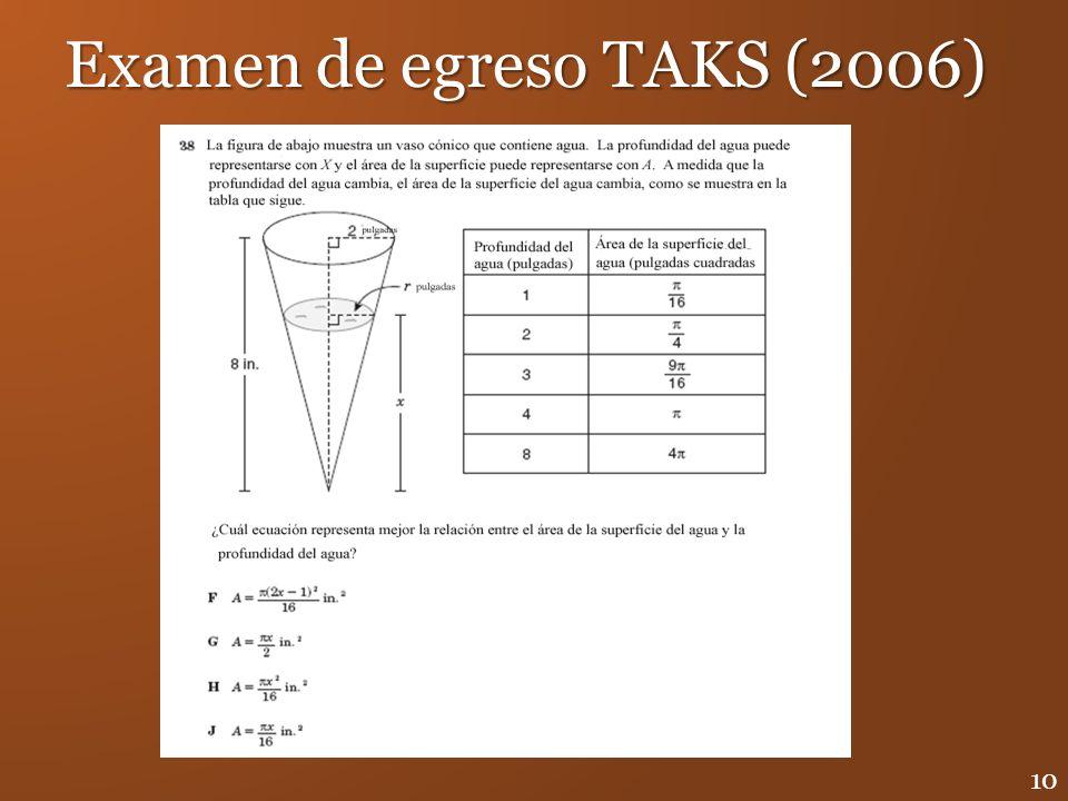 Examen de egreso TAKS (2006) 10