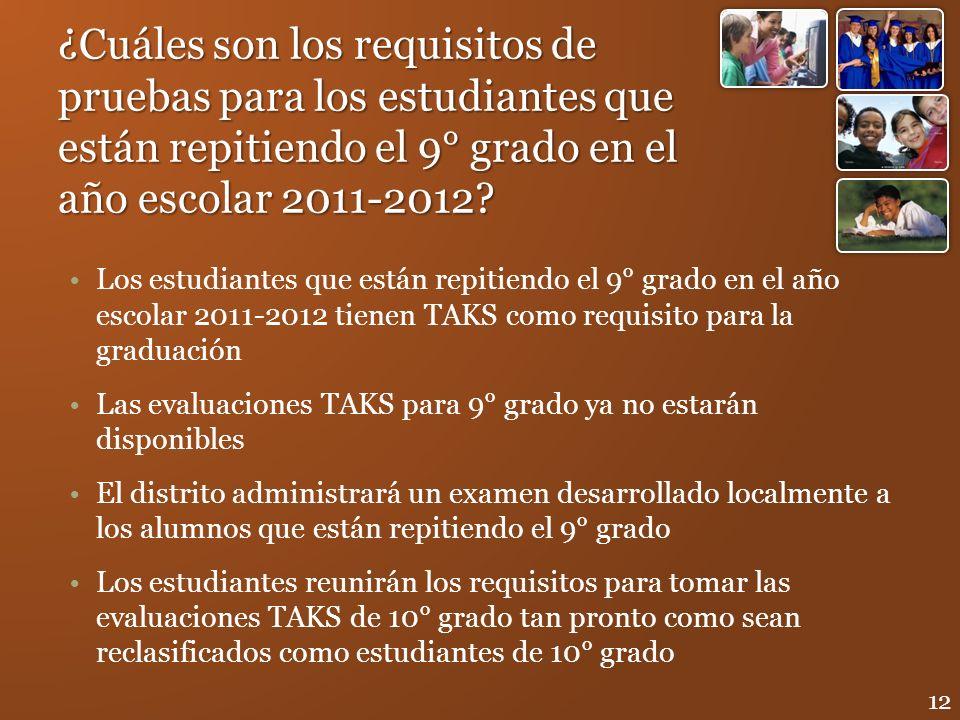 ¿Cuáles son los requisitos de pruebas para los estudiantes que están repitiendo el 9° grado en el año escolar 2011-2012? Los estudiantes que están rep