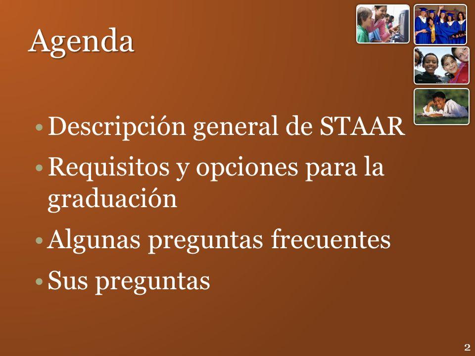 Agenda Descripción general de STAAR Requisitos y opciones para la graduación Algunas preguntas frecuentes Sus preguntas 2