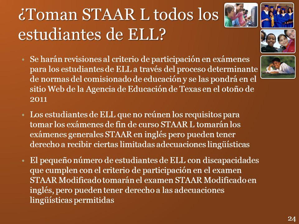 ¿Toman STAAR L todos los estudiantes de ELL? Se harán revisiones al criterio de participación en exámenes para los estudiantes de ELL a través del pro