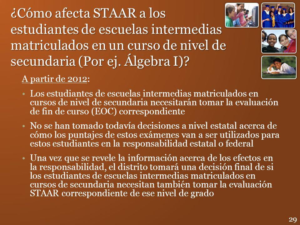 ¿Cómo afecta STAAR a los estudiantes de escuelas intermedias matriculados en un curso de nivel de secundaria (Por ej. Álgebra I)? A partir de 2012: Lo