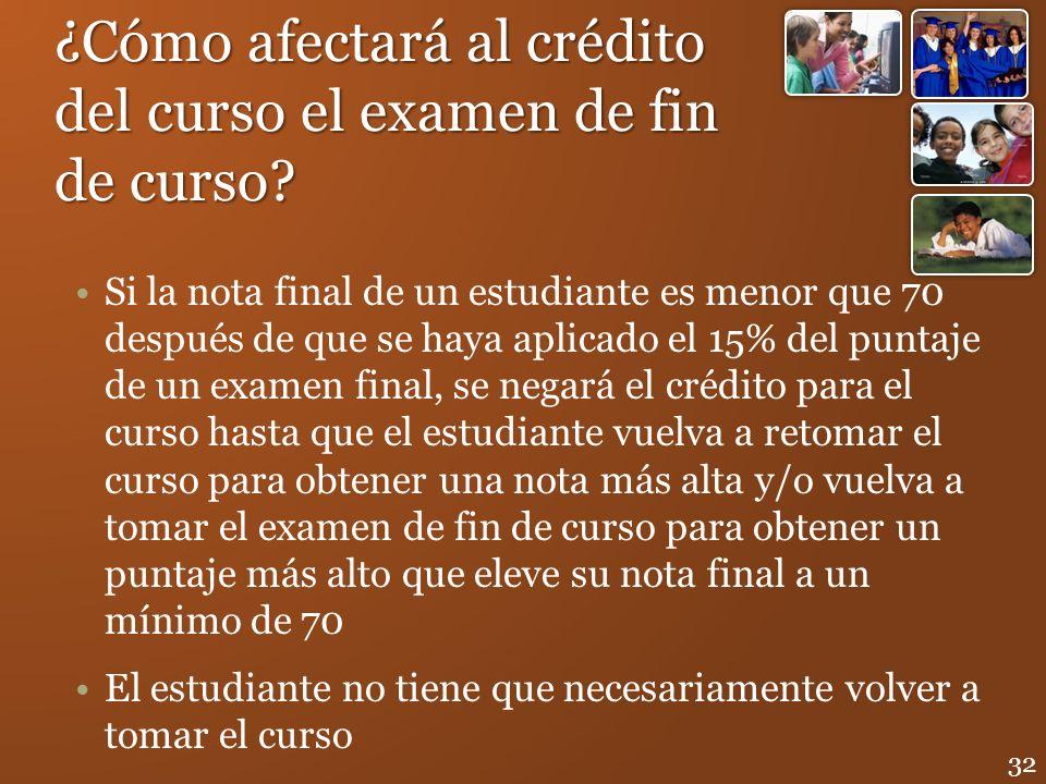 ¿Cómo afectará al crédito del curso el examen de fin de curso? Si la nota final de un estudiante es menor que 70 después de que se haya aplicado el 15