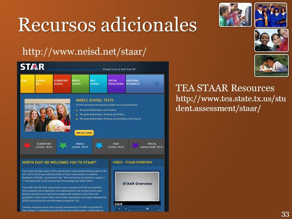 Recursos adicionales http://www.neisd.net/staar/ TEA STAAR Resources http://www.tea.state.tx.us/stu dent.assessment/staar/ 33