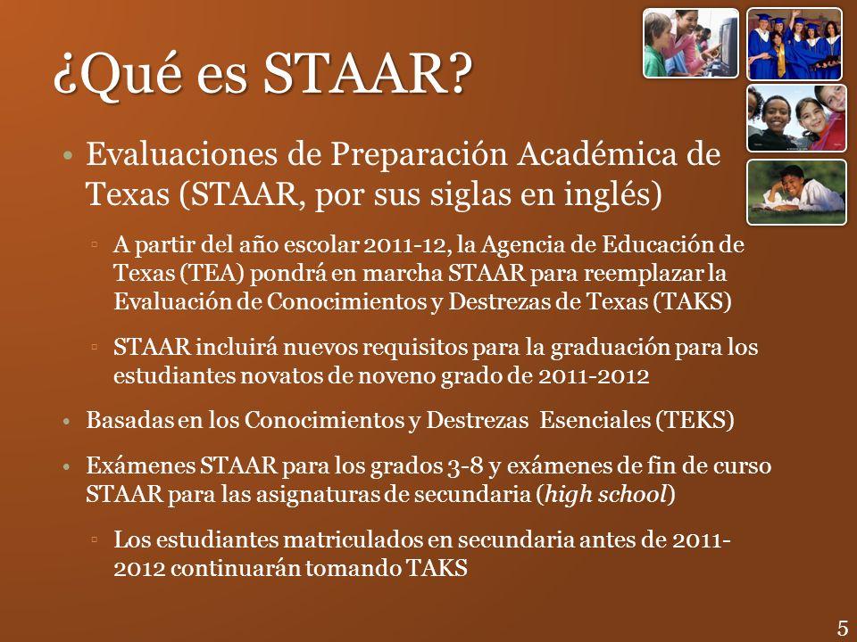 ¿Qué es STAAR? Evaluaciones de Preparación Académica de Texas (STAAR, por sus siglas en inglés) A partir del año escolar 2011-12, la Agencia de Educac