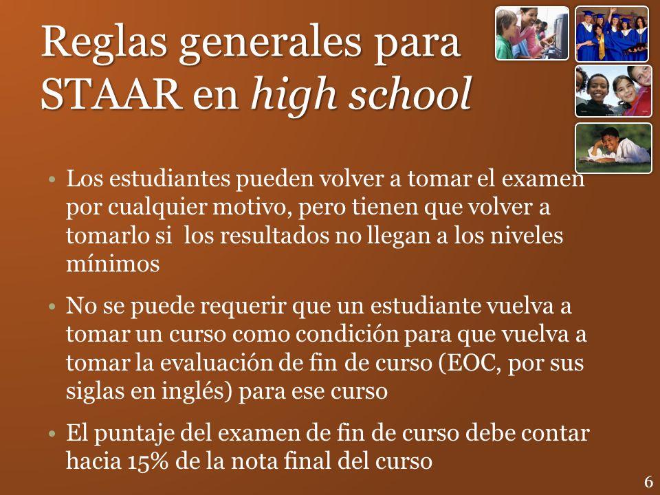 Reglas generales para STAAR en high school Los estudiantes pueden volver a tomar el examen por cualquier motivo, pero tienen que volver a tomarlo si l