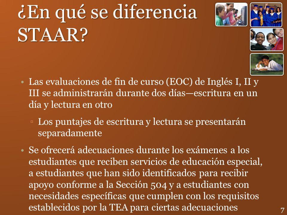 ¿En qué se diferencia STAAR? Las evaluaciones de fin de curso (EOC) de Inglés I, II y III se administrarán durante dos díasescritura en un día y lectu