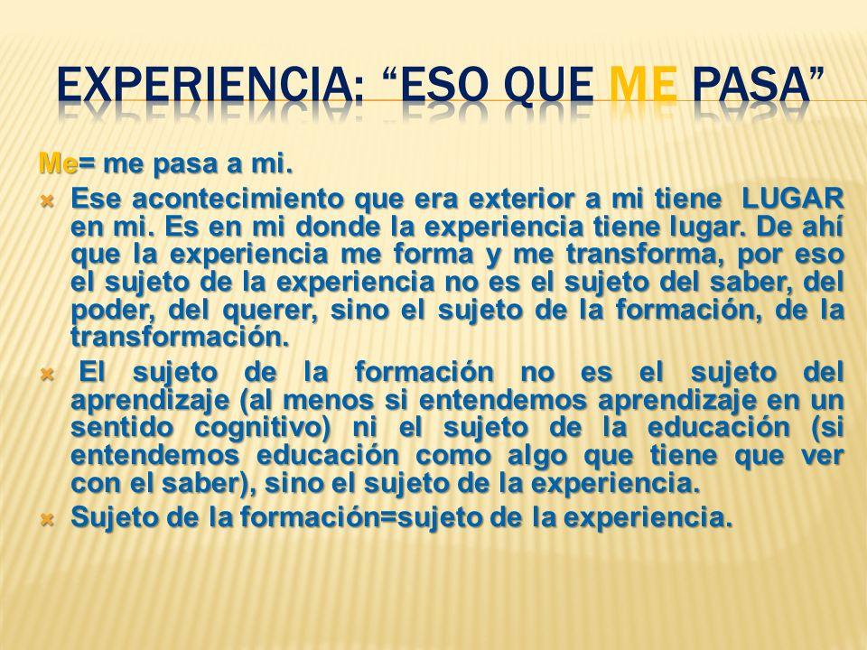 Me= me pasa a mi. Ese acontecimiento que era exterior a mi tiene LUGAR en mi. Es en mi donde la experiencia tiene lugar. De ahí que la experiencia me