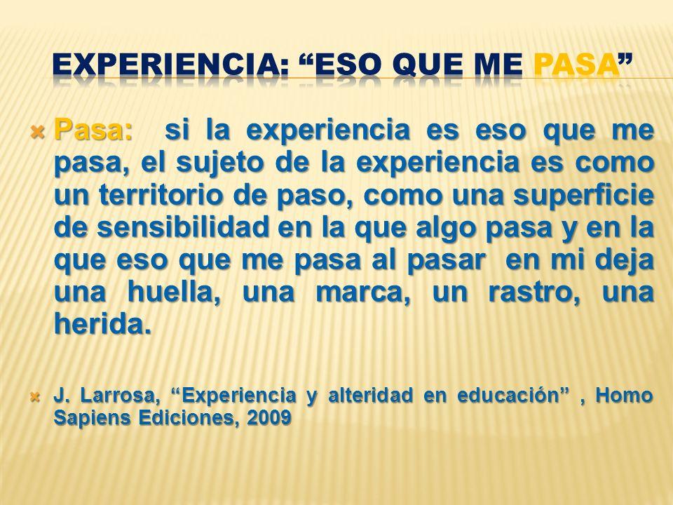 Pasa: si la experiencia es eso que me pasa, el sujeto de la experiencia es como un territorio de paso, como una superficie de sensibilidad en la que a
