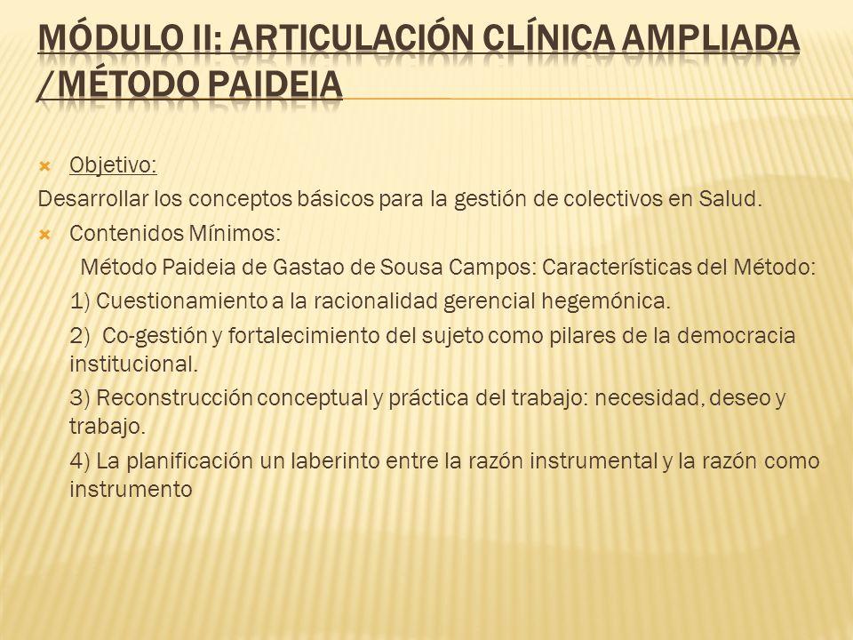 Objetivo: Desarrollar los conceptos básicos para la gestión de colectivos en Salud. Contenidos Mínimos: Método Paideia de Gastao de Sousa Campos: Cara