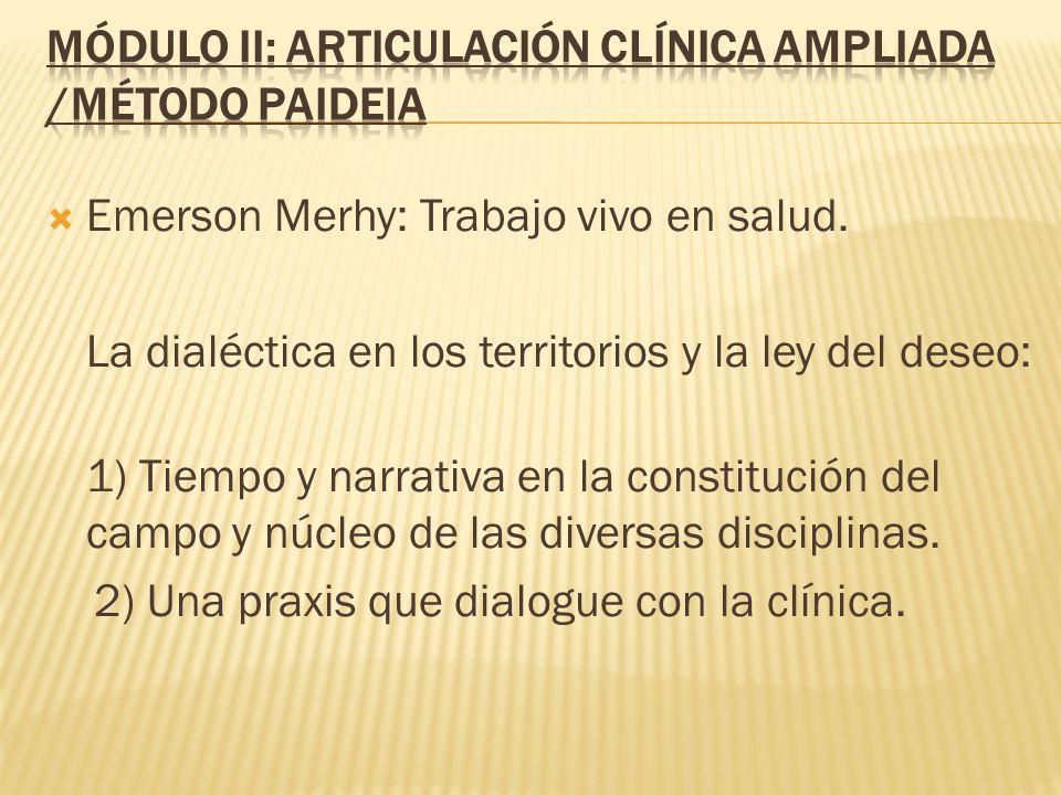 Emerson Merhy: Trabajo vivo en salud. La dialéctica en los territorios y la ley del deseo: 1) Tiempo y narrativa en la constitución del campo y núcleo
