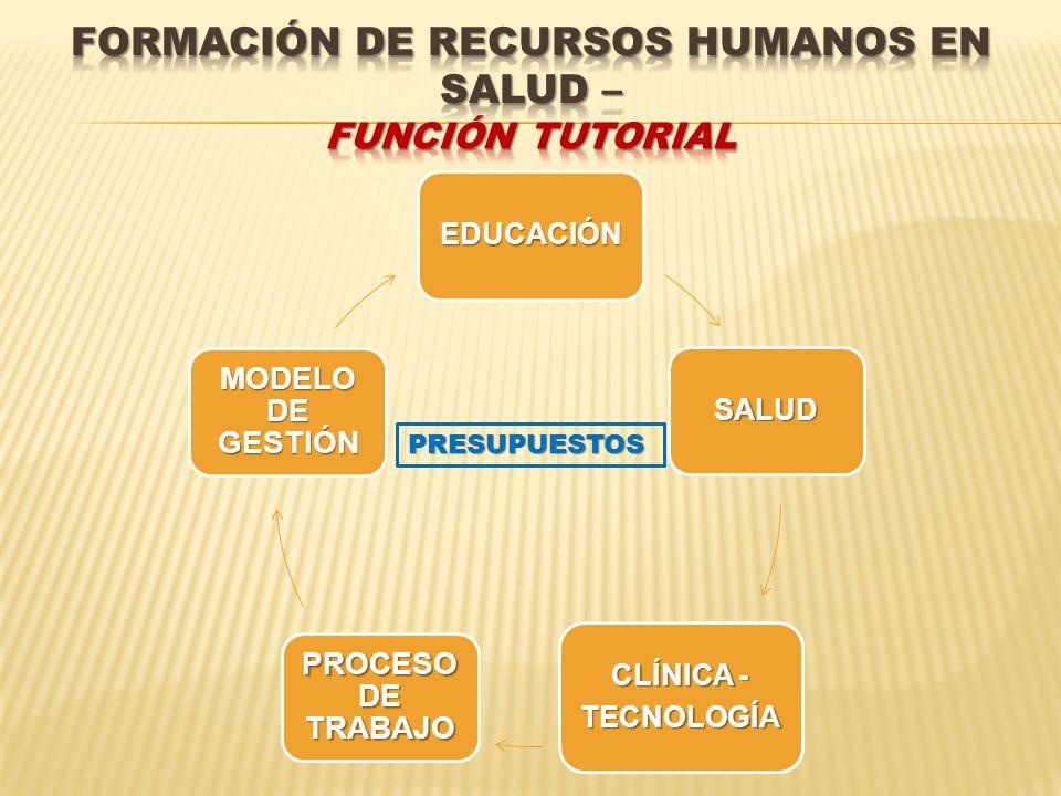EDUCACIÓN SALUD CLÍNICA - TECNOLOGÍA PROCESO DE TRABAJO MODELO DE GESTIÓN PRESUPUESTOS