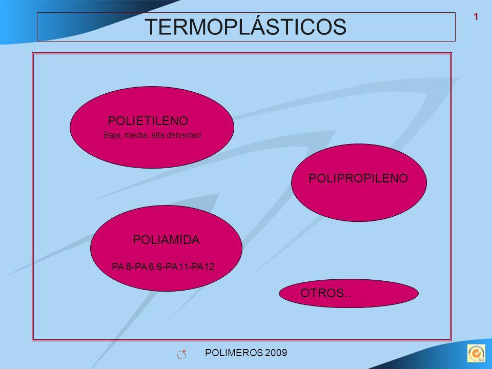 POLIMEROS 2009 1 TERMOPLÁSTICOS POLIETILENO Baja, media, alta densidad POLIPROPILENO POLIAMIDA PA 6-PA 6.6-PA11-PA12 OTROS..