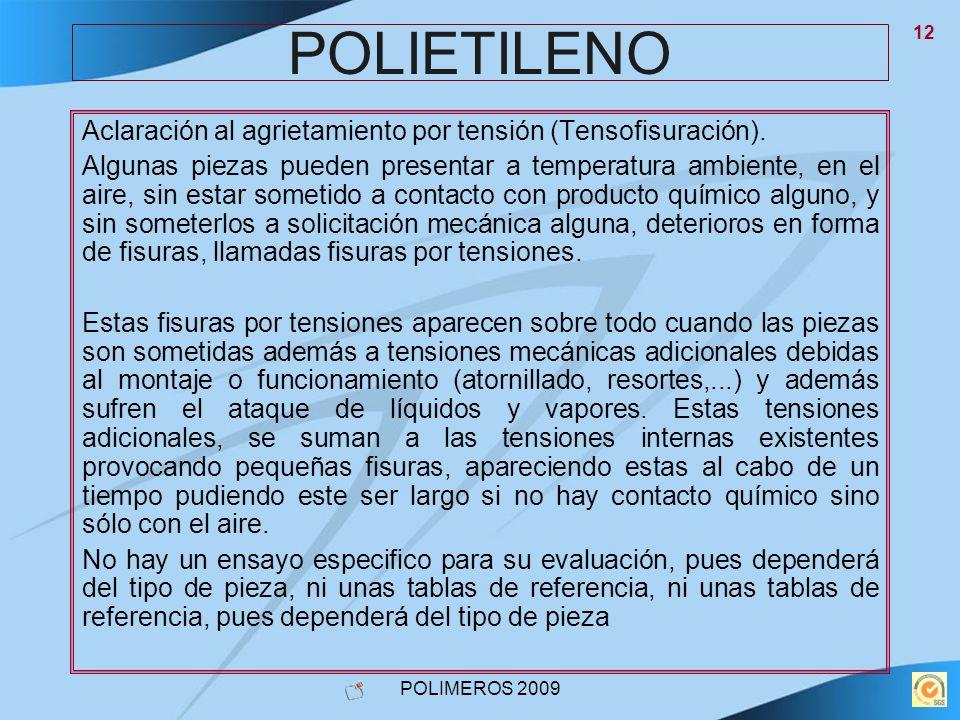POLIMEROS 2009 12 POLIETILENO Aclaración al agrietamiento por tensión (Tensofisuración). Algunas piezas pueden presentar a temperatura ambiente, en el