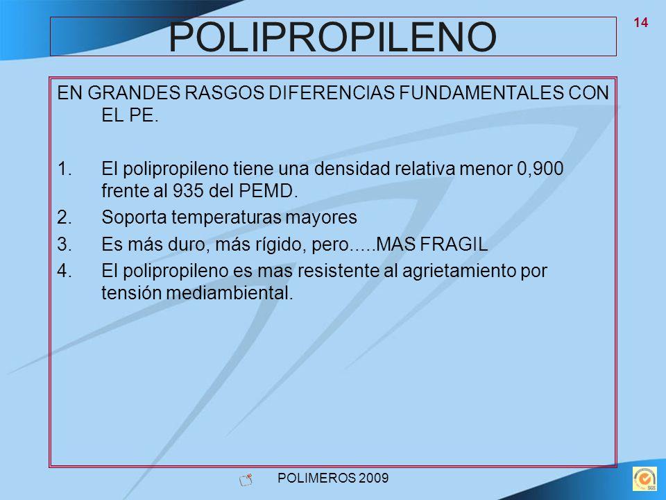 POLIMEROS 2009 14 POLIPROPILENO EN GRANDES RASGOS DIFERENCIAS FUNDAMENTALES CON EL PE. 1.El polipropileno tiene una densidad relativa menor 0,900 fren