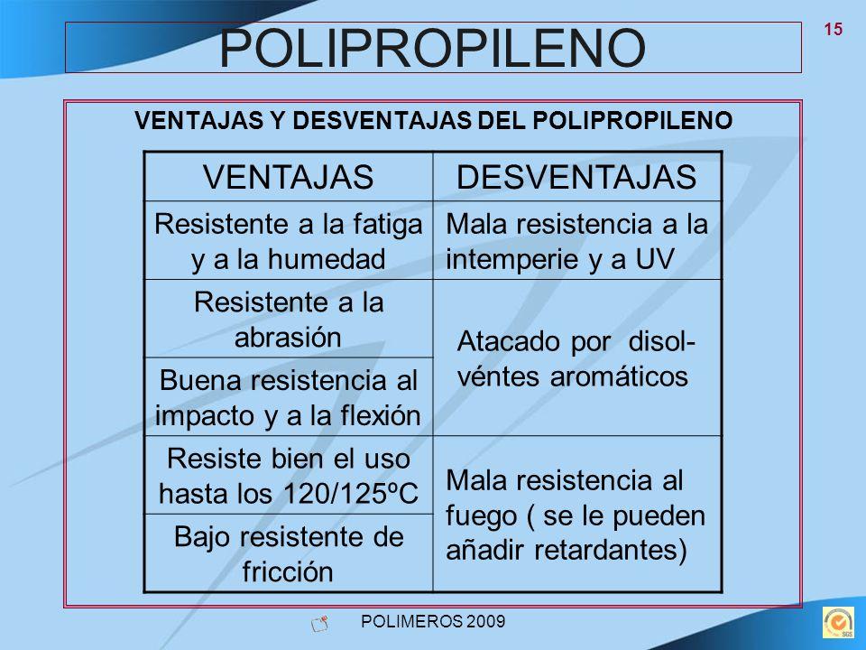 POLIMEROS 2009 15 POLIPROPILENO VENTAJAS Y DESVENTAJAS DEL POLIPROPILENO VENTAJASDESVENTAJAS Resistente a la fatiga y a la humedad Mala resistencia a