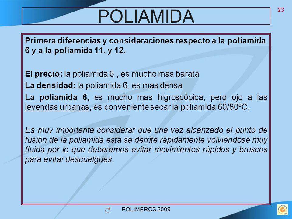 POLIMEROS 2009 23 POLIAMIDA Primera diferencias y consideraciones respecto a la poliamida 6 y a la poliamida 11. y 12. El precio: la poliamida 6, es m