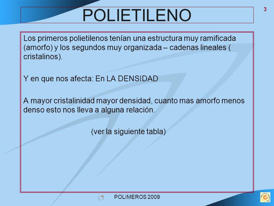 POLIMEROS 2009 4 POLIETILENO PEBDPEMDPEHDPEUHDA Densidad0,900-0,9200,925-0,9350,940-0,9600,960-.....