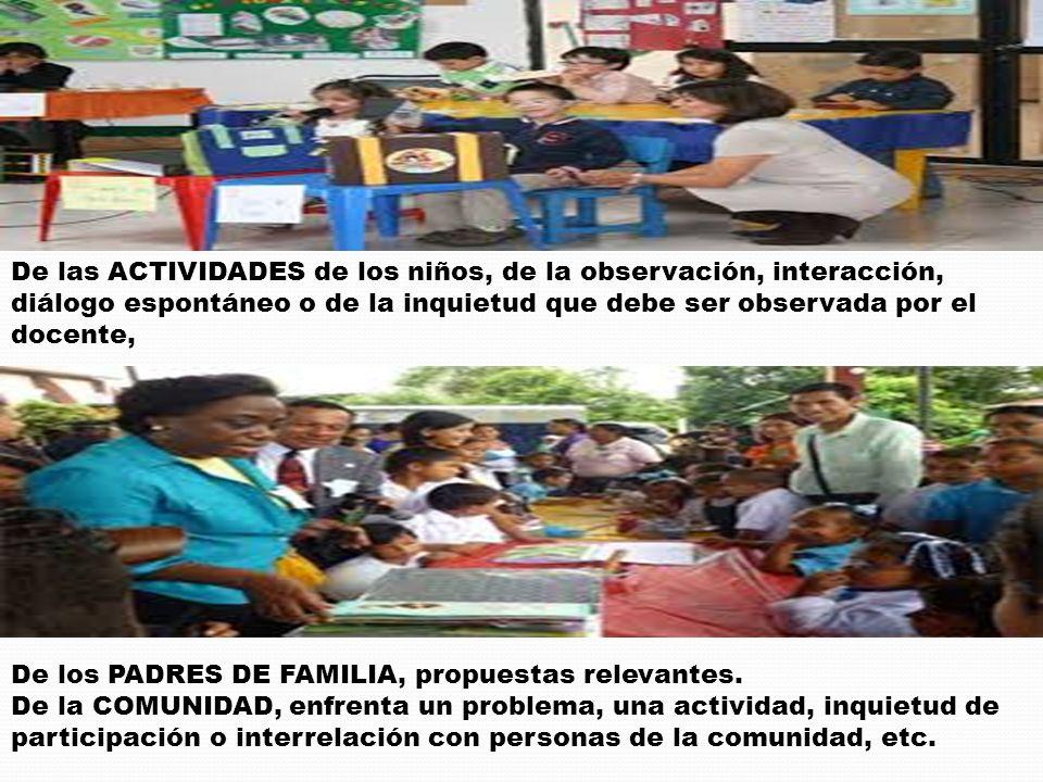 De las ACTIVIDADES de los niños, de la observación, interacción, diálogo espontáneo o de la inquietud que debe ser observada por el docente, De los PA