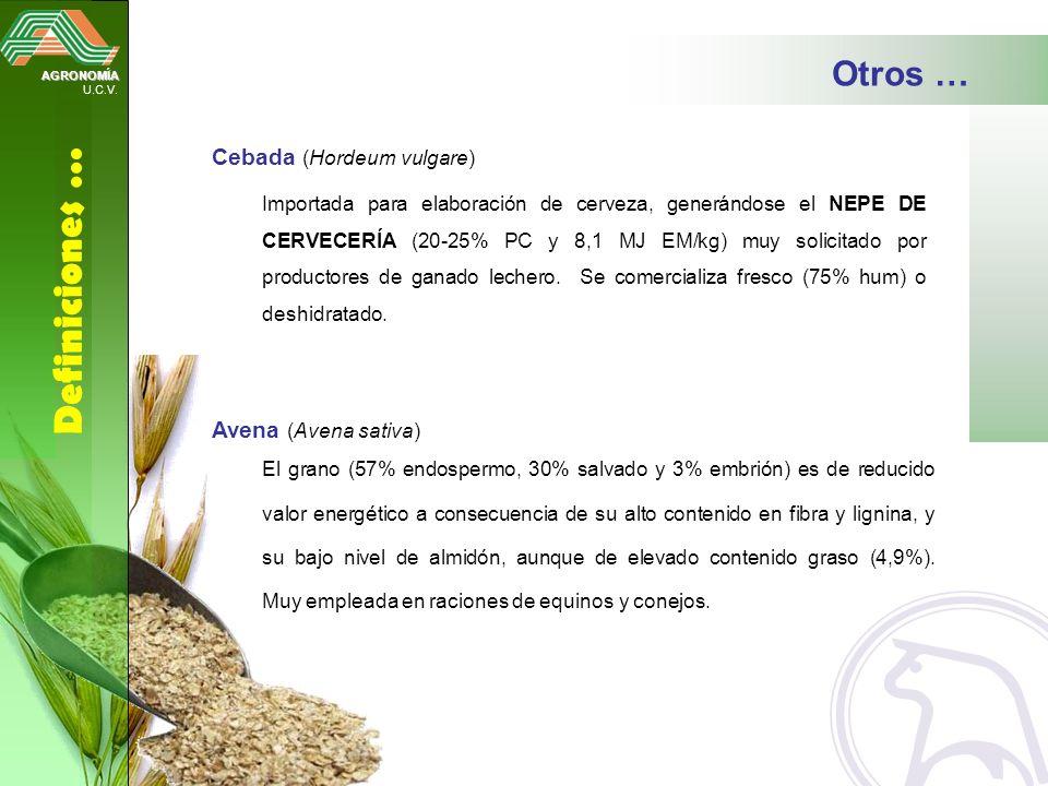 AGRONOMÍA U.C.V. Definiciones … Otros … Cebada (Hordeum vulgare) Importada para elaboración de cerveza, generándose el NEPE DE CERVECERÍA (20-25% PC y