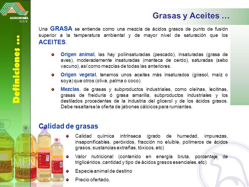 AGRONOMÍA U.C.V. Definiciones … Grasas y Aceites … Una GRASA se entiende como una mezcla de ácidos grasos de punto de fusión superior a la temperatura