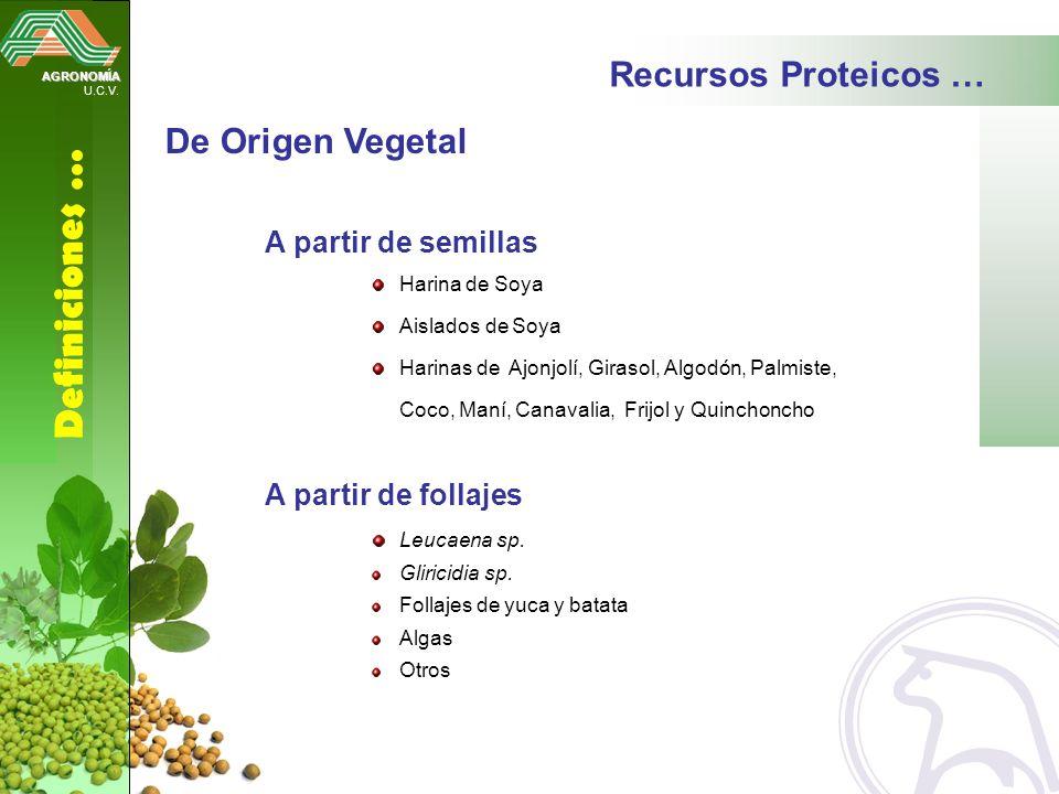 AGRONOMÍA U.C.V. Definiciones … Recursos Proteicos … A partir de semillas Harina de Soya Aislados de Soya Harinas de Ajonjolí, Girasol, Algodón, Palmi