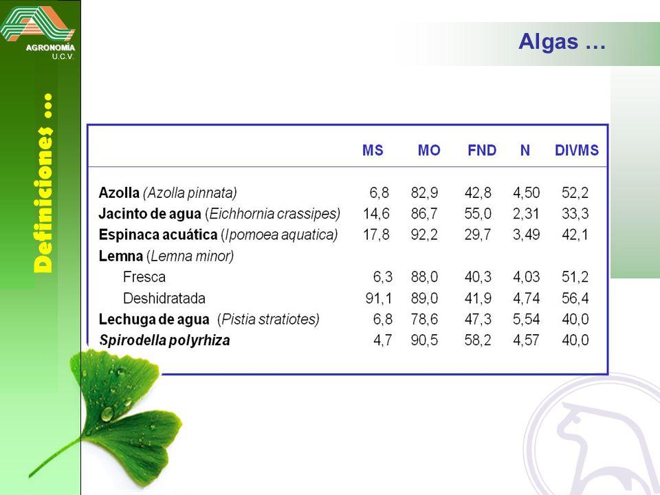 AGRONOMÍA U.C.V. Definiciones … Algas …