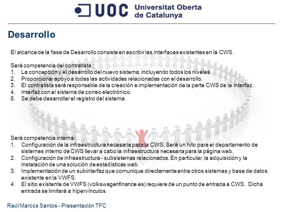 Desarrollo Raúl Marcos Santos - Presentación TFC El alcance de la fase de Desarrollo consiste en escribir las interfaces existentes en la CWS. Será co