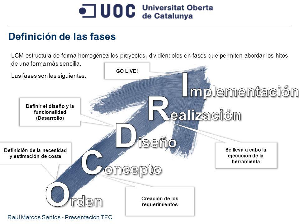 Definición de las fases Raúl Marcos Santos - Presentación TFC LCM estructura de forma homogénea los proyectos, dividiéndolos en fases que permiten abo