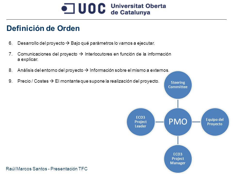 Definición de Orden Raúl Marcos Santos - Presentación TFC 6.Desarrollo del proyecto Bajo qué parámetros lo vamos a ejecutar. 7.Comunicaciones del proy