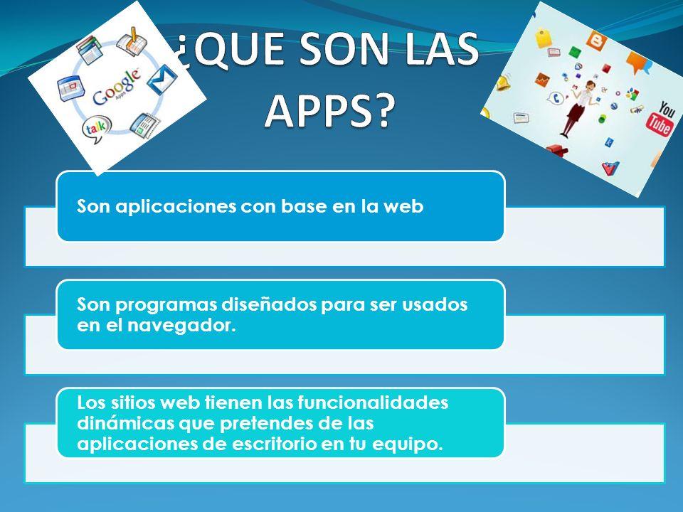Son aplicaciones con base en la web Son programas diseñados para ser usados en el navegador. Los sitios web tienen las funcionalidades dinámicas que p