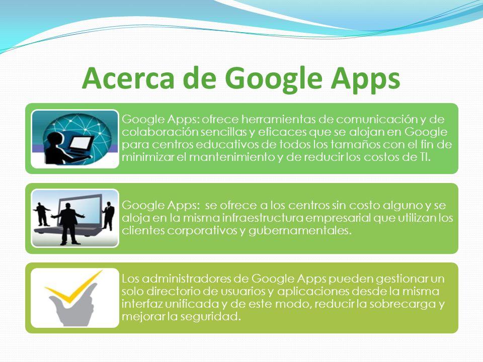 Acerca de Google Apps Google Apps: ofrece herramientas de comunicación y de colaboración sencillas y eficaces que se alojan en Google para centros edu