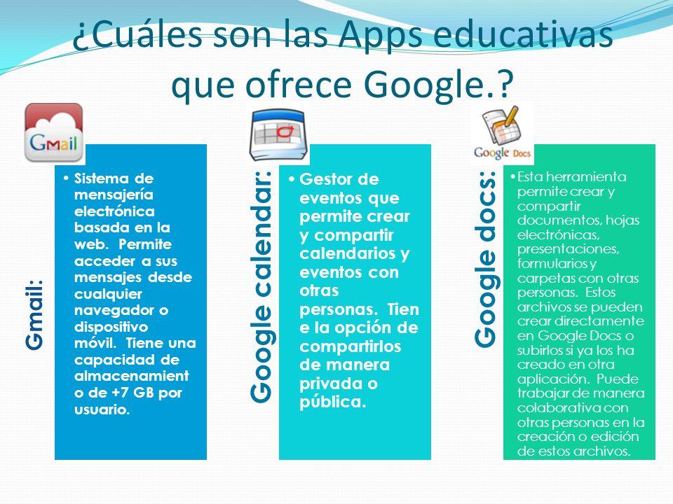 ¿Cuáles son las Apps educativas que ofrece Google.? Gmail: Sistema de mensajería electrónica basada en la web. Permite acceder a sus mensajes desde cu