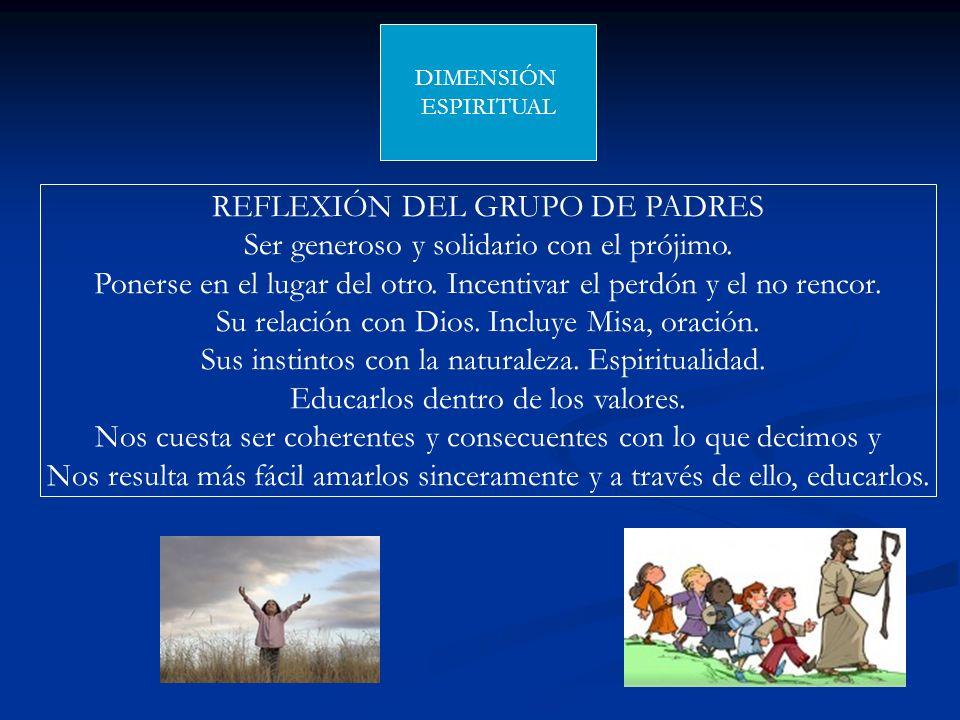 DIMENSIÓN ESPIRITUAL REFLEXIÓN DEL GRUPO DE PADRES Ser generoso y solidario con el prójimo. Ponerse en el lugar del otro. Incentivar el perdón y el no