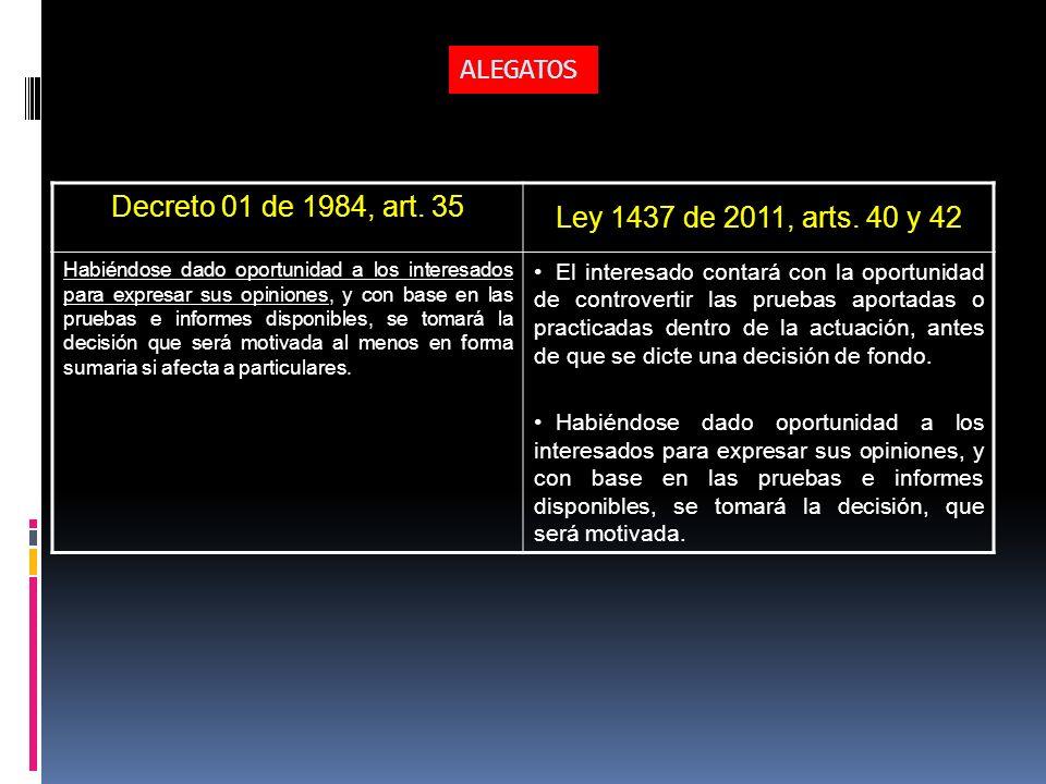 ALEGATOS Decreto 01 de 1984, art. 35 Ley 1437 de 2011, arts. 40 y 42 Habiéndose dado oportunidad a los interesados para expresar sus opiniones, y con