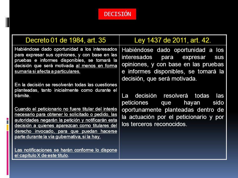 DECISIÓN Decreto 01 de 1984, art. 35Ley 1437 de 2011, art. 42. Habiéndose dado oportunidad a los interesados para expresar sus opiniones, y con base e