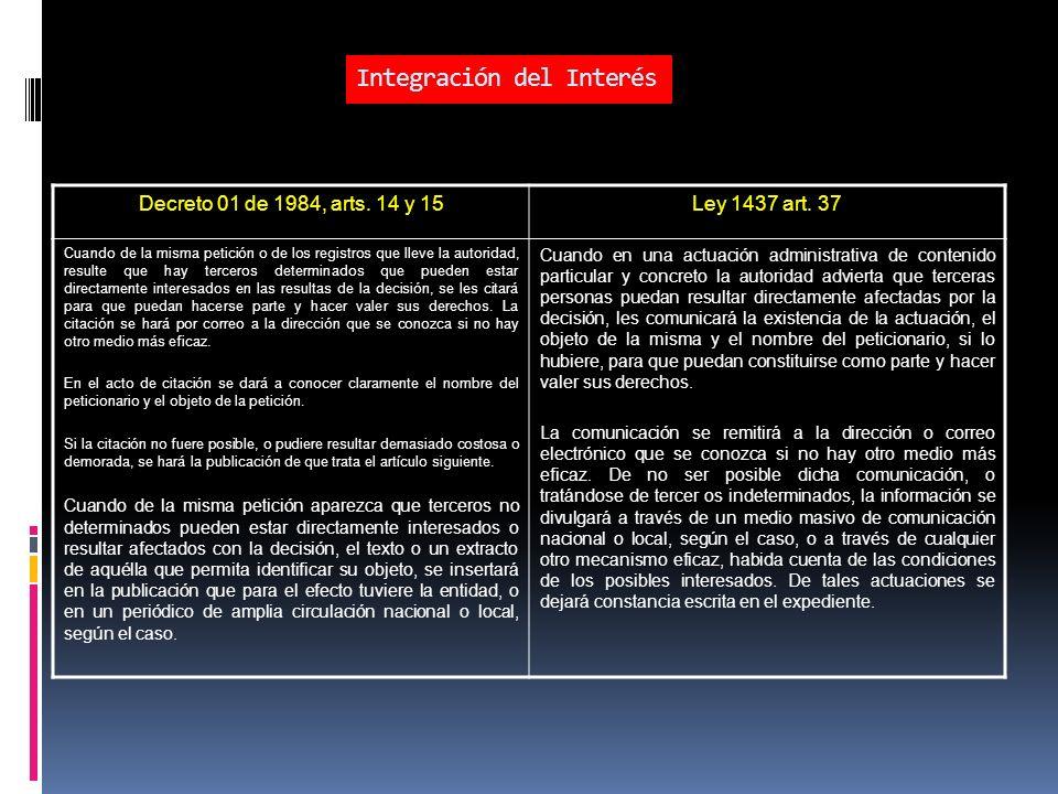 Integración del Interés Decreto 01 de 1984, arts.14 y 15Ley 1437 art.